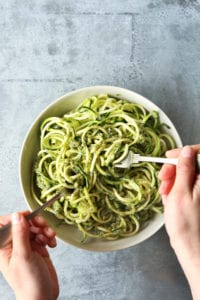 Zoodles and avocado pesto